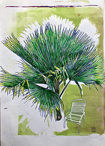 Monoprint A4 Palm- Chair 2