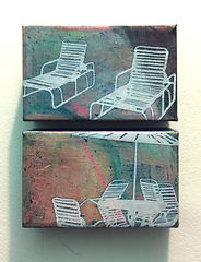 Deck chairs Series Small Diptych 2. Oil,