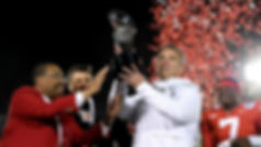 Ohio State Buckeyes head coach Urban Meyer with the Rose Bowl trophy celebrates winning the Rose Bowl Game presented by Northwestern Mutual at the Rose Bowl on January 1, 2019 in Pasadena, California. (Photo by Harry How/Getty Images)