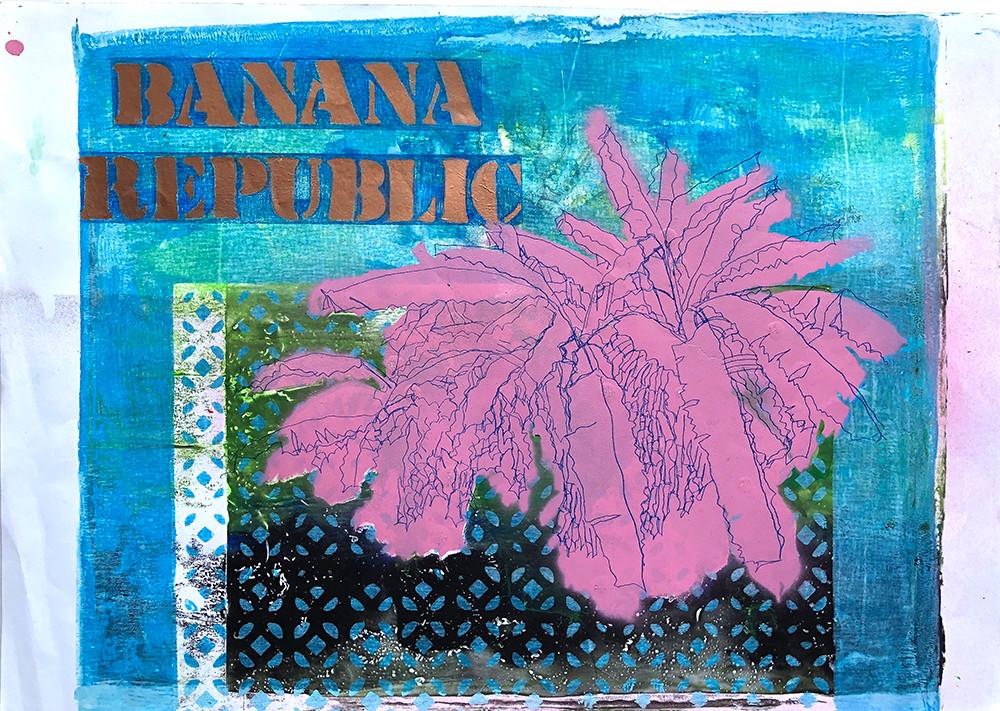 Renata Fernandez. Monoprint A3 Banana Re