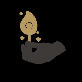 Hand Lighting a Match Mystical Logo Temp