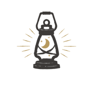 Grunge Old Lantern with Moon Logo Templa