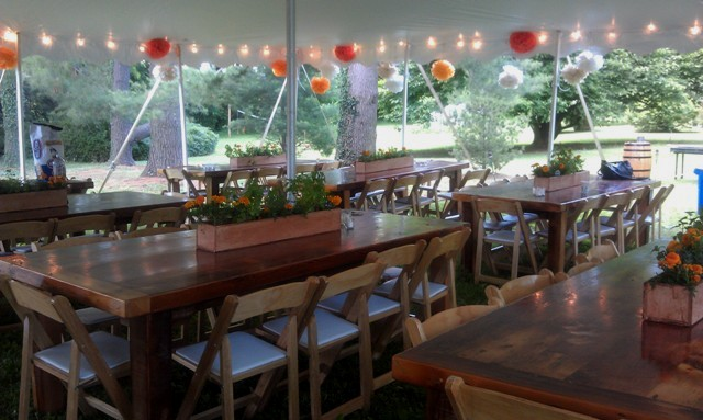 Tent with Rustic Tables