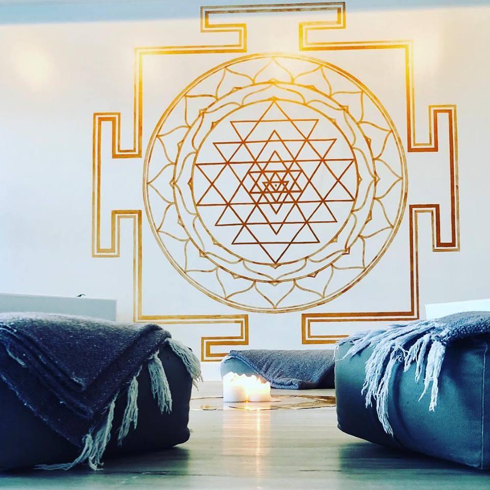 Ancient Symbol Sri Yantra Painted at Full Circle Yoga School in Cocoa Beach FL by locals Cori Chaney & Stella Grace