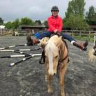 Western rider on palomino horse