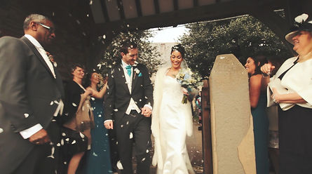 Bristol wedding film coupl in Warmley, Bristol. Confetti a church after wedding ceremony