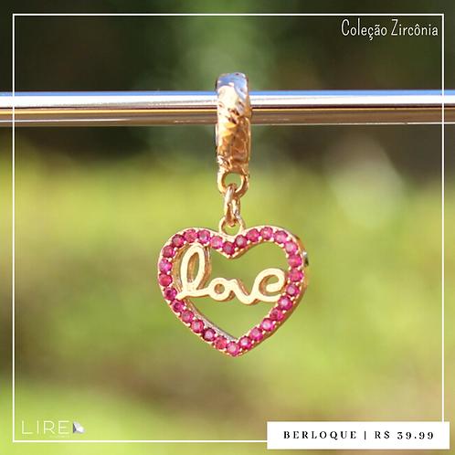 Berloque zircônia coração love rosa