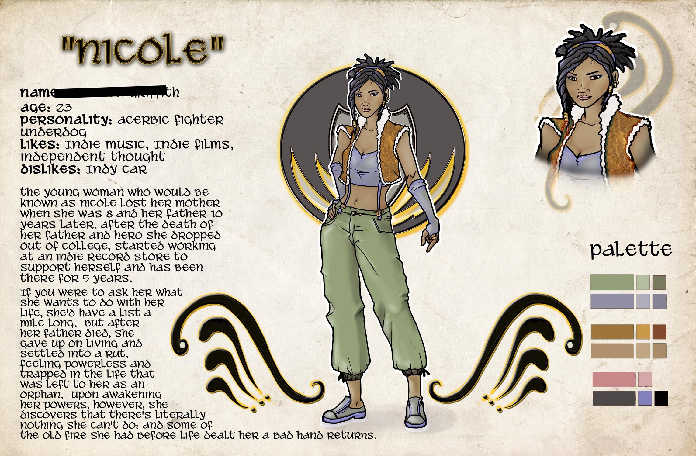 Nicole character card