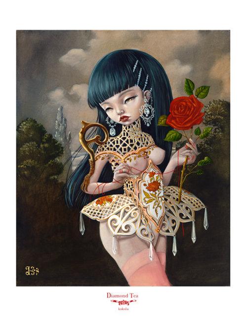 "KUKULA ""Diamond Tea"" Hand embellished Print"