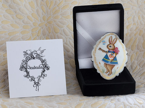 Hand Painted Bunny Brooch