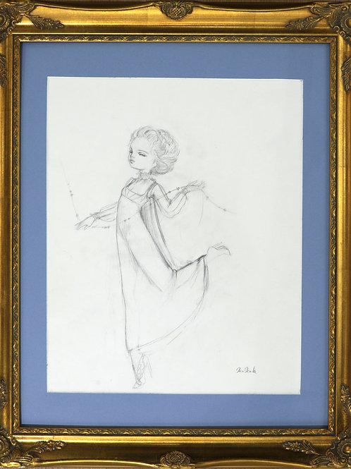 """""""Valentino"""" Original Framed Drawing"""