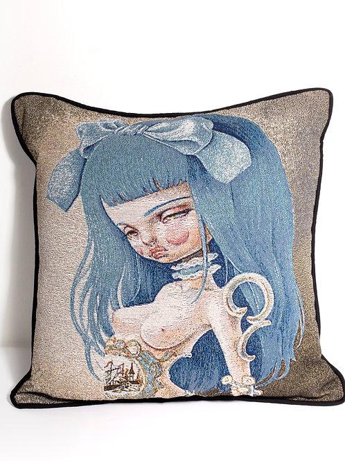 Blue Limoges woven pillow