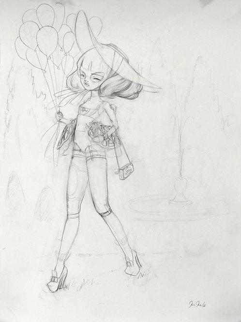 """ Les Gasconnades Study"" Original Framed Drawing"