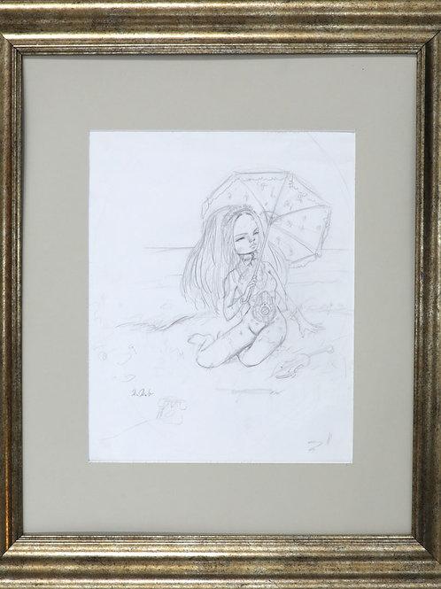 """""""Melancholy"""" Original Framed Drawing"""