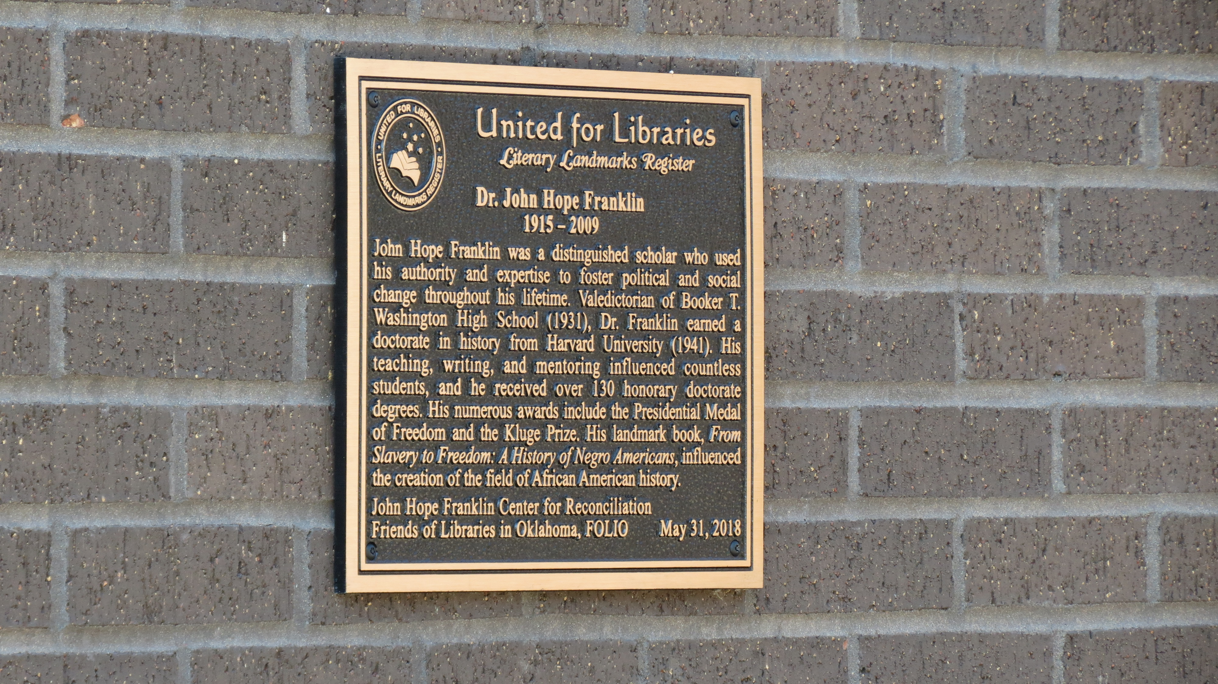 Literary Landmark Plaque