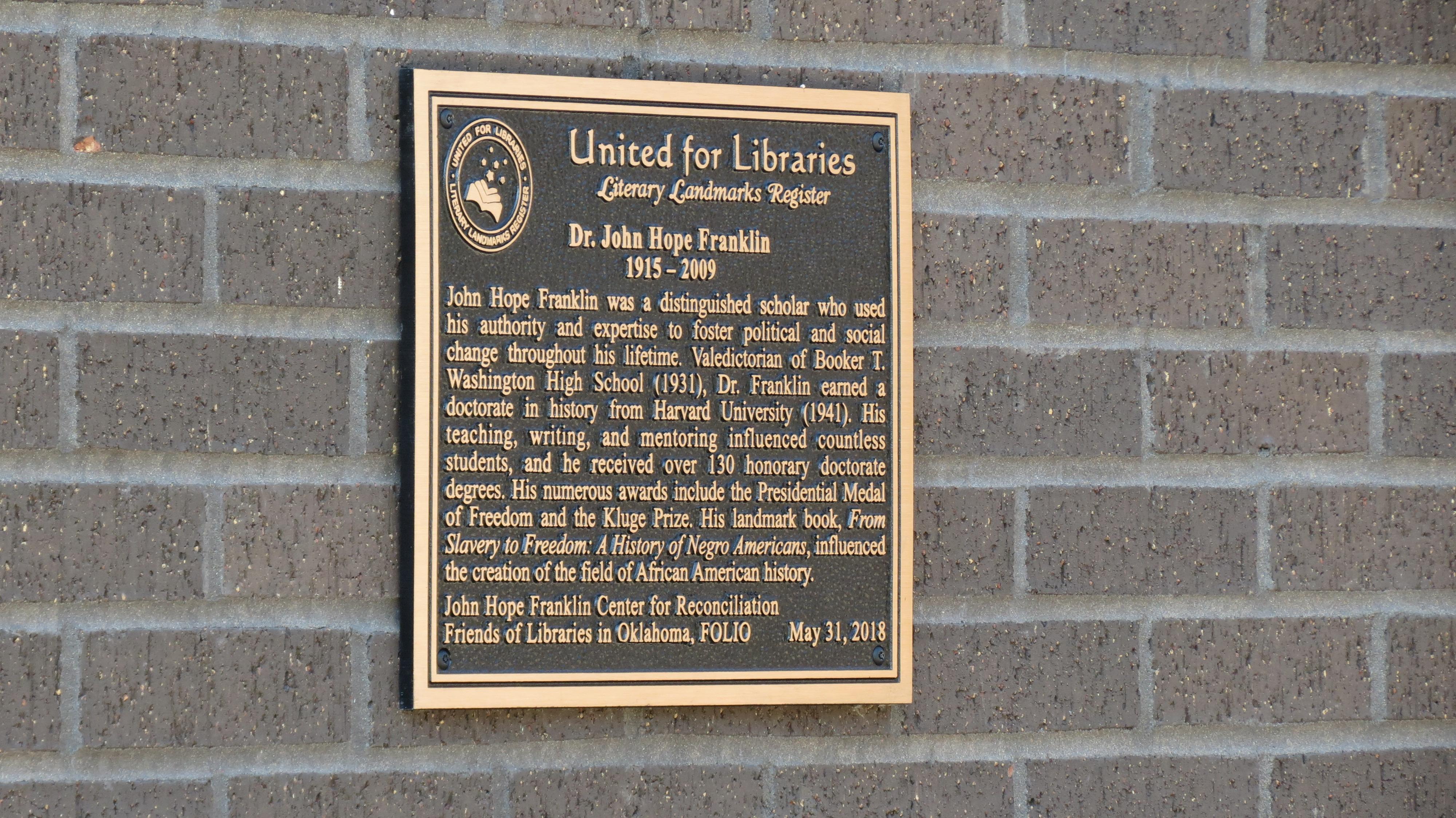 Literary Landmark Register Plaque