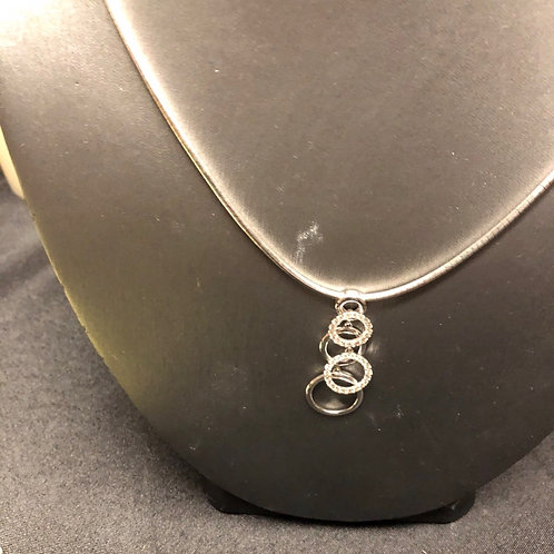 """16"""" 14K Gold Necklace with 3 Diamond Rings"""