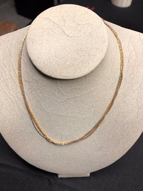 """16"""" Tri Gold Necklace"""