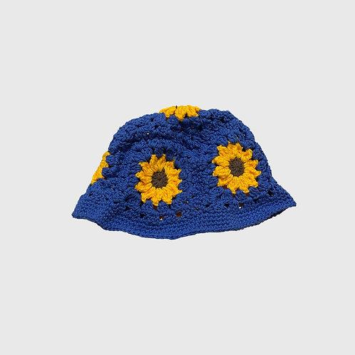 Sunflower Handwoven Bucket (Blue)