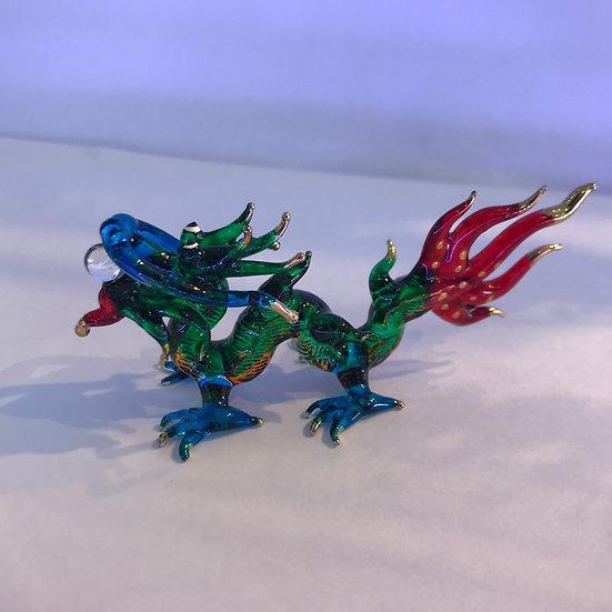 Red tail Dragon Glass Figurine