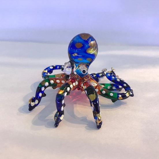 Octopus Swim Glass Figurine
