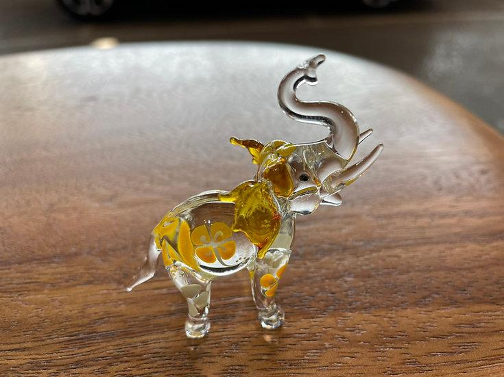Yellow Frangipani Elephant Trunk Up Glass Figurine