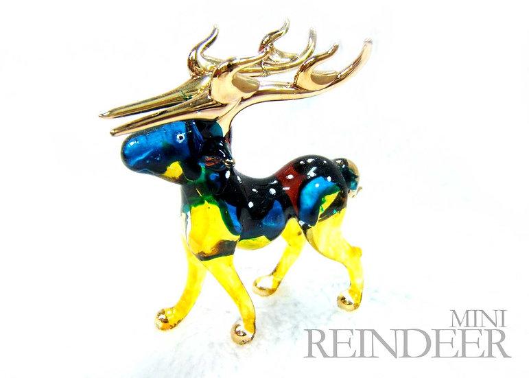 Blue Yellow White Dot Rain Deer Glass Figurine