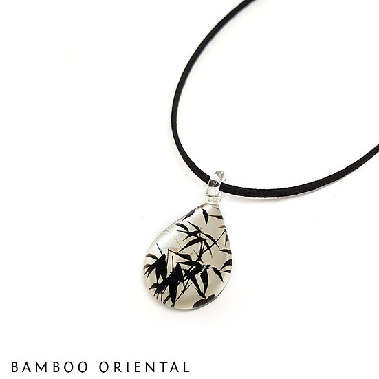 PW688 Bamboo Silver Glass Pendant Water Drop Shape