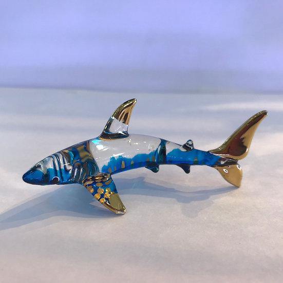 Blue Shark Glass Figurine