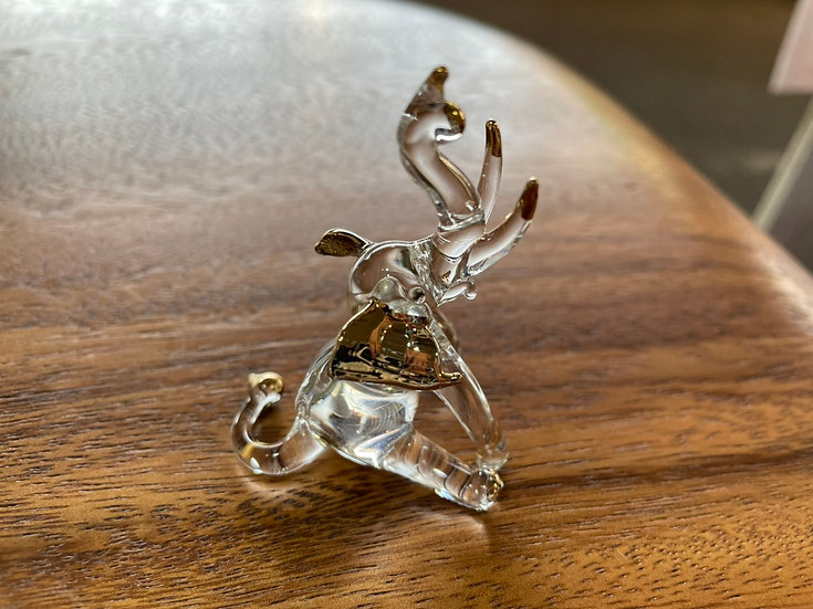 Sit Down Elephant Trunk Up Clear Glass with 22 K gold