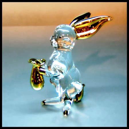 Clear Glass Rabbit Zodiac with22Kgold