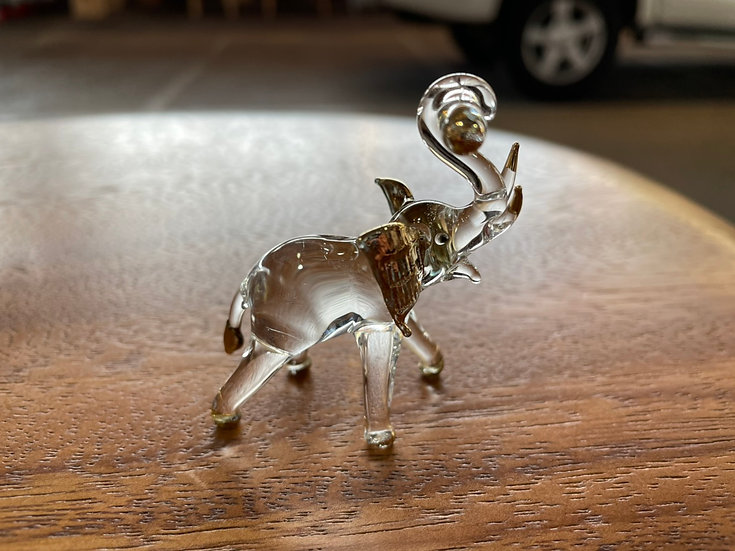 Carry Wood Elephant  Clear Glass with 22 K Gold