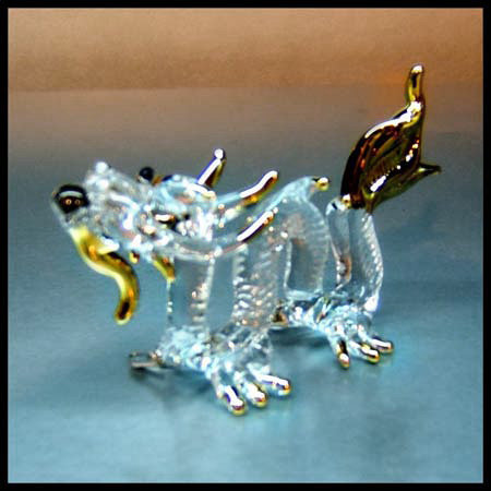 Dragon Clear Glass Figurine with 22k gold