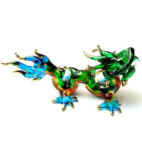 Blue Tail Dragon Glass Figurine