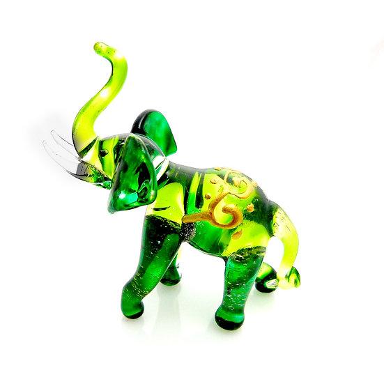 Green Elephant Trunk Up Thai Style Glass Figurine