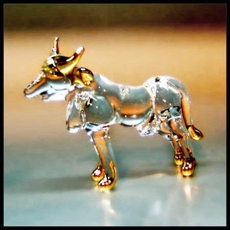 Cow Clear Glass with 22k gold  Zodiac