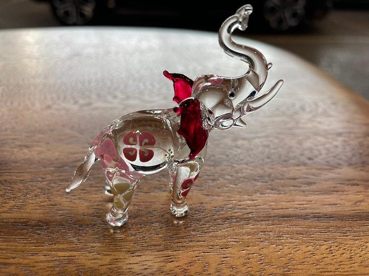 PinkFrangipani Elephant Trunk Up Glass Figurine