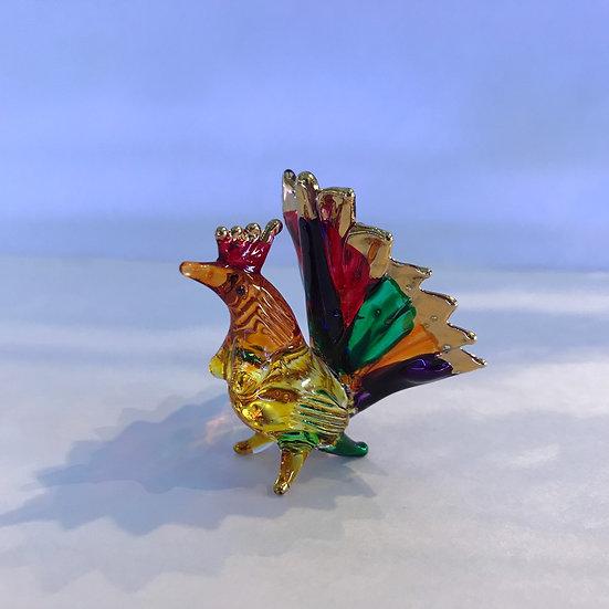 Hen Multi Color Glass Figurine
