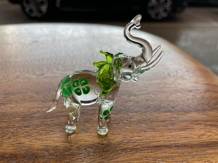 Green Frangipani Elephant Trunk Up Glass Figurine