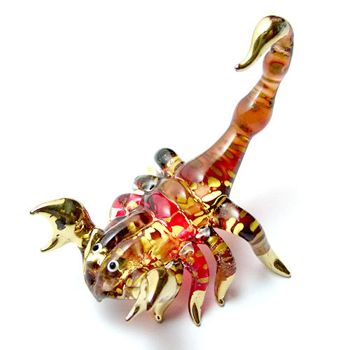 Red Brown Scorpion Glass Figurine