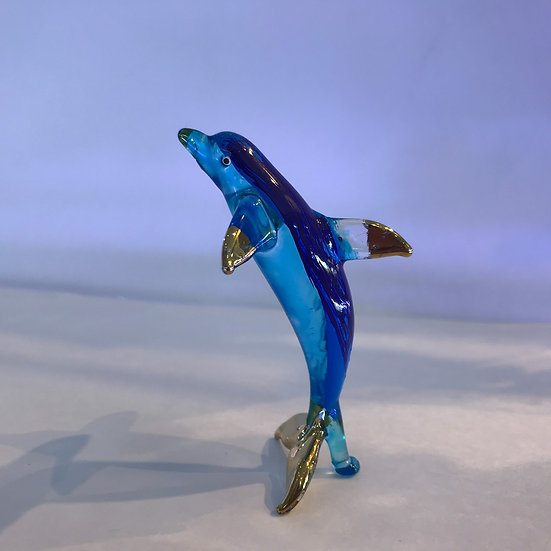Jumping Dolphin Glass Figurine Blue color