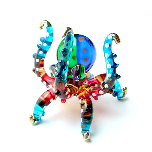 Light Blue Octopus Hand Up Glass Figurine