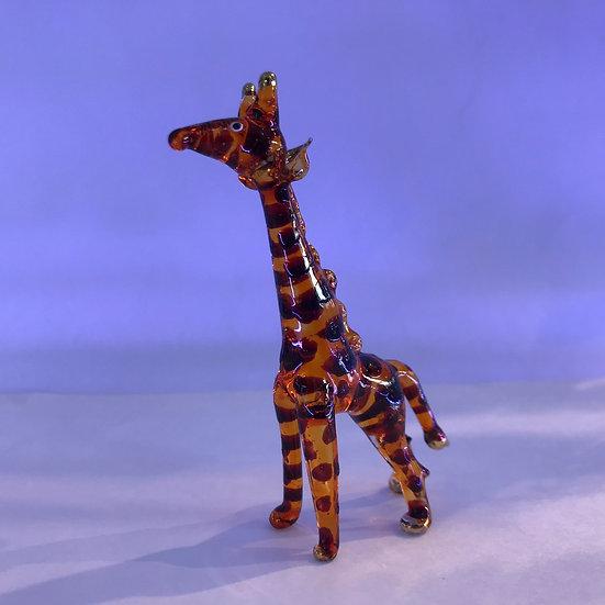 Orange Giraffe Glass Figurine