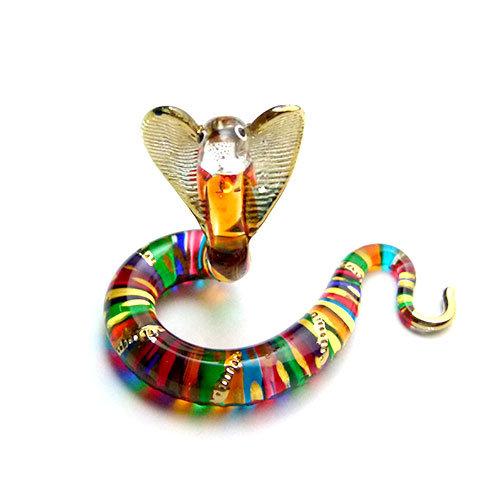 Cobra Multi color glass figurine