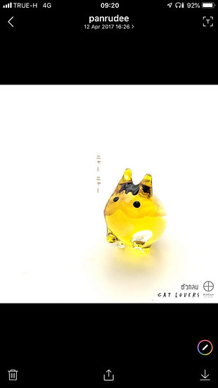 Glass Fat Cat Yellow Hand Painting