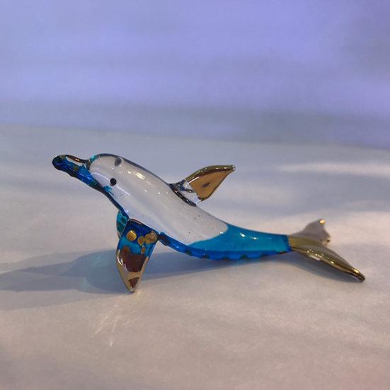 Blue Dolphin Swimming Glass Figurine