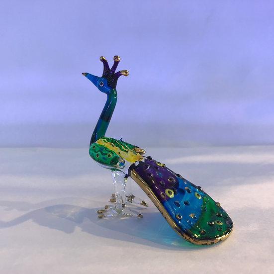 Peacock Bird Glass Figurine