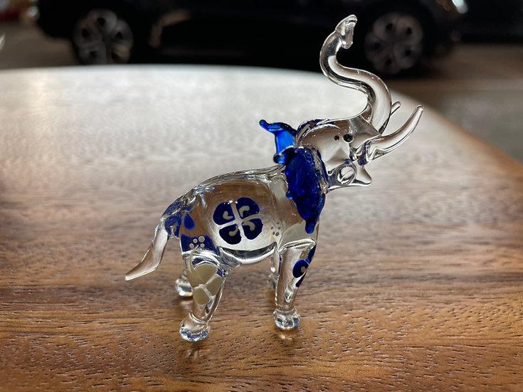 Blue Frangipani Elephant Trunk Up Glass Figurine