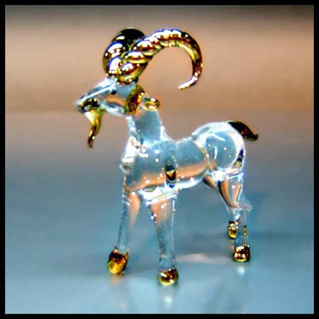 Goat Clear Glass Figurine with 22k gold