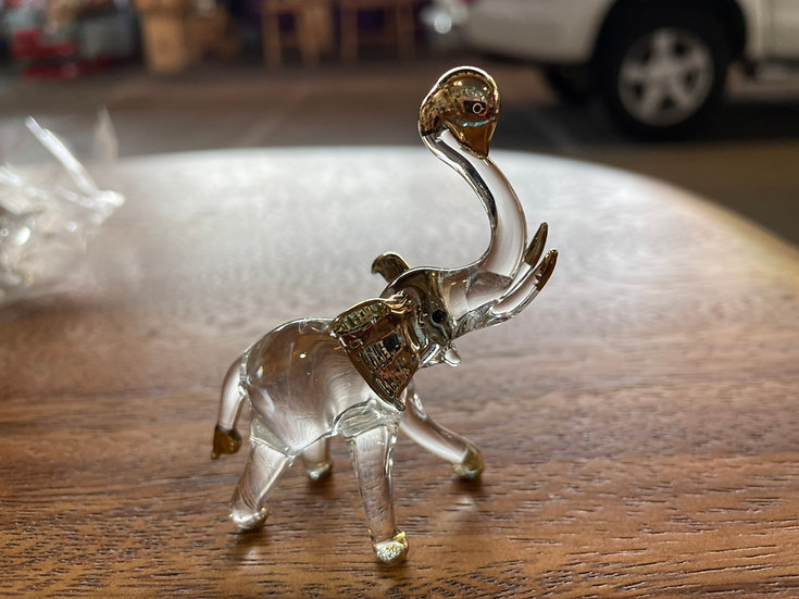 Elephant Trunk Up with ball clear glass with22 k gold